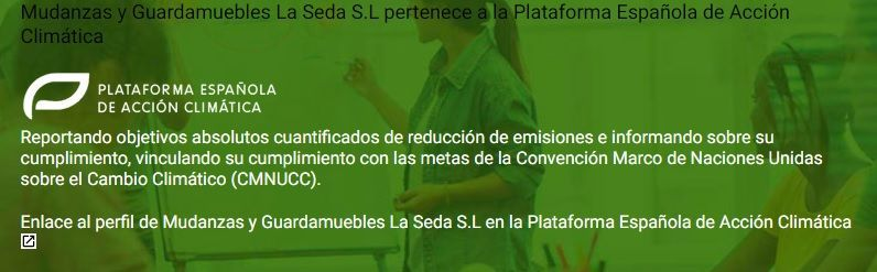 Mudanzas y Guardamuebles La Seda S.L pertenece a la Plataforma Española de Acción Climática