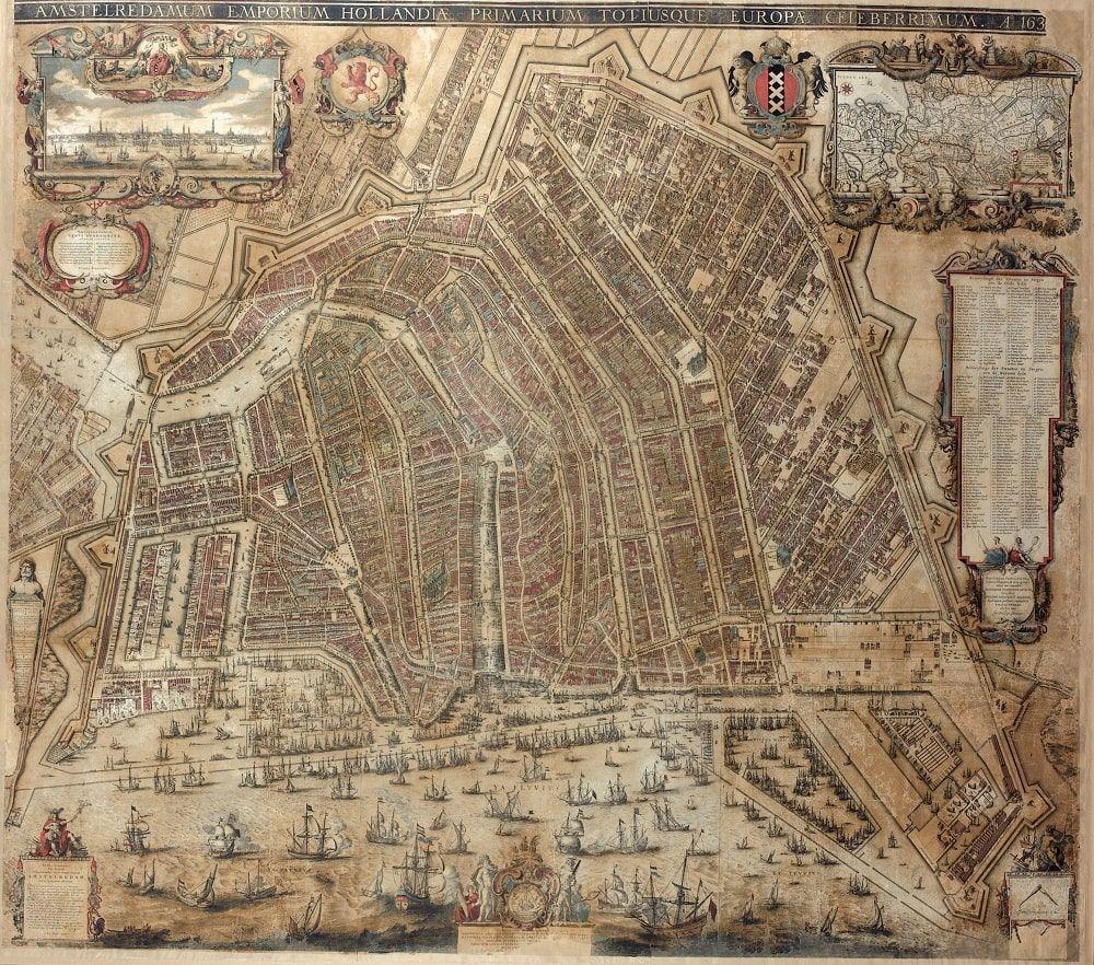 Map of Amsterdam. 1630s reprint of original 1625 edition