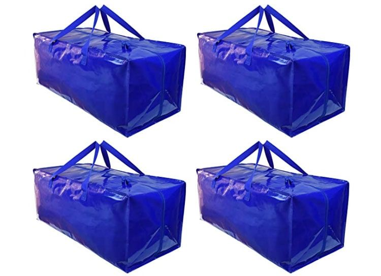 BY BE YOURS Pack de 4 Bolsas Mudanza y Almacenaje - Extra Grandes y Muy Resistentes - Correas para Mochila, Fuertes Asas y Cremalleras
