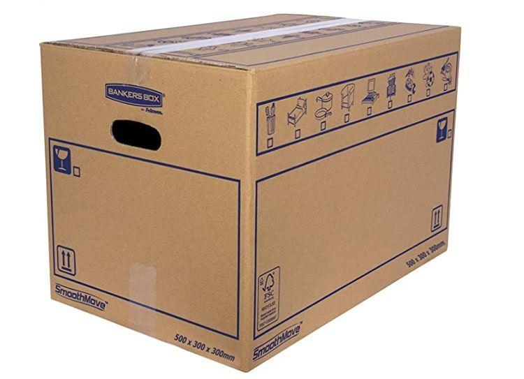Bankers Box 6208201 Pack 10 Cajas de Cartón 50 x 30 x 30 cm con Asas para Mudanzas, Almacenaje y Transporte Ultraresistentes, Canal Doble Reforzado (Talla L) 45 Litros